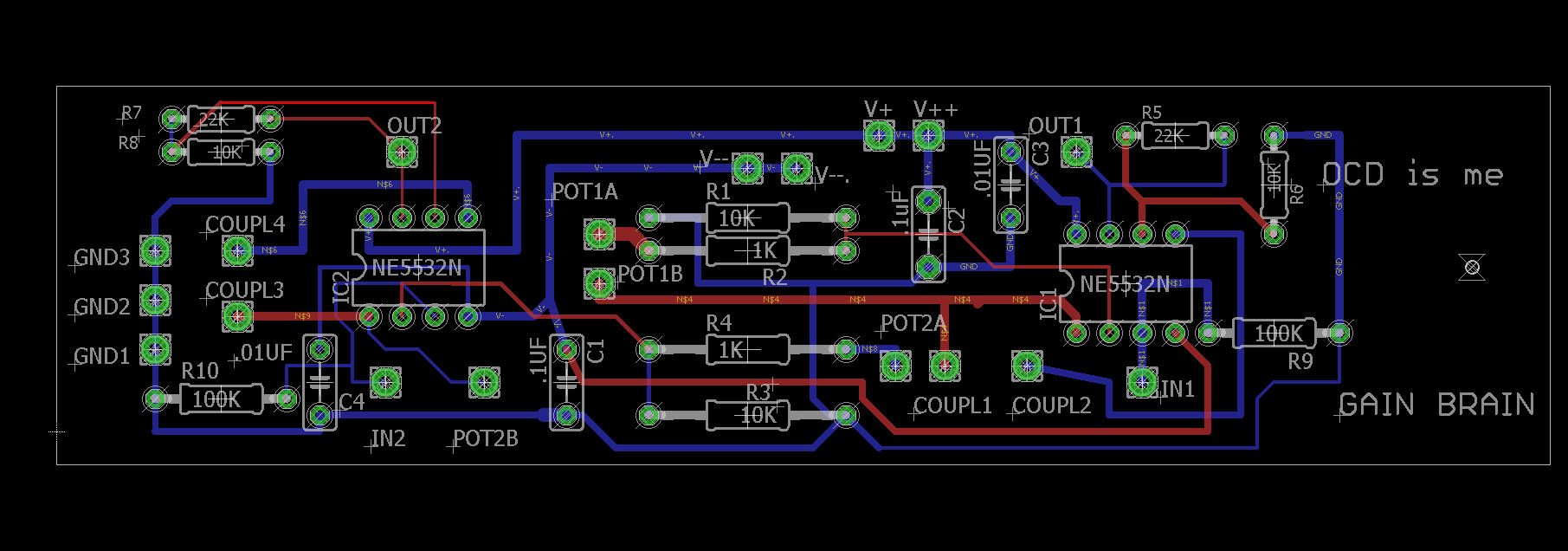 Op Amp Circuits Gain Vcas And Boards Wiringthe Opamp Inverter Circuit Board Layout Looks Like This